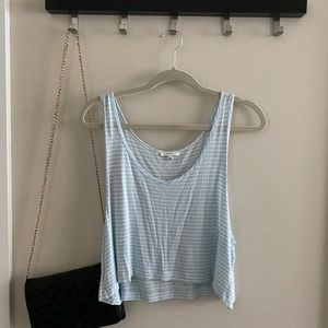 TALULA blue and white striped Flowy tank crop top